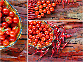 Collage of cherry tomato and chilli peppers