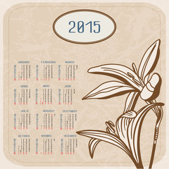 Vector calendar for 2015. Flowers on textured background