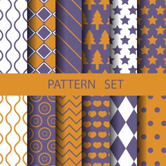 different geometric vector seamless patterns