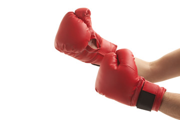 Person wearing boxing gloves