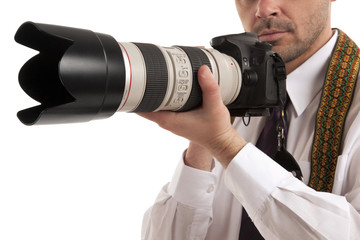 Man holding slr camera