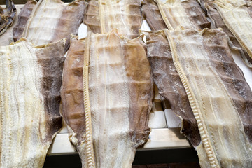 Stockfisch auf einem Fischmarkt