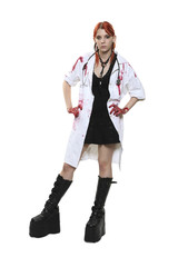 Female doctor with blood on lab coat