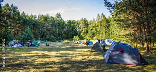 Foto op Canvas Kamperen Tents in the tourist camp in a forest glade.