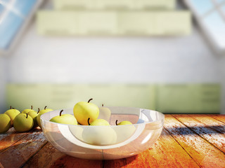 many apples on a wooden table