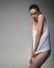 Brunette giving sensual pose