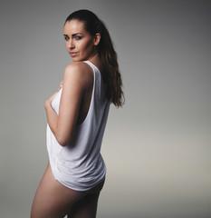 Beautiful woman posing in underwear