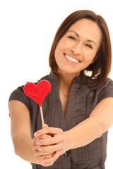 Verliebte Frau mit Herz Lolli