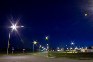 Road near the factory at night.