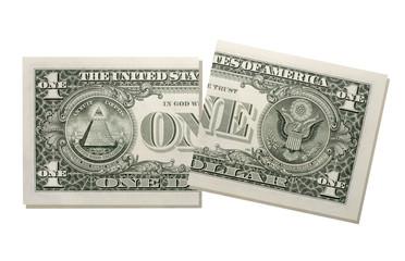 Zerrissen -Dollar-Schein , close-up
