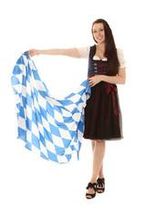 Mädchen im Dirndl mit Bayern Fahne