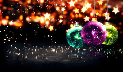 Hanging Baubles Christmas Yellow Star Night Bokeh Beautiful 3D