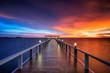 Leinwanddruck Bild - Wooded bridge