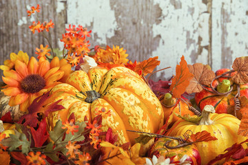Autumn display with a squash and decorative gourds and flowers