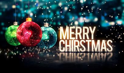 Merry Christmas Hanging Baubles Blue Bokeh Beautiful 3D