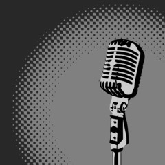 Retro Microphone Spotlight vector