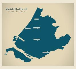 Moderne Landkarte - Zuid-Holland NL