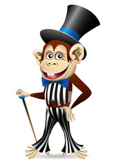 Cheerful monkey in dandy clothes
