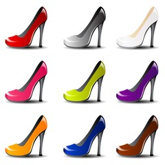 Vector high heel shoe in 9 color