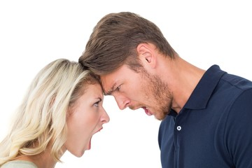 Young couple arguing with each other