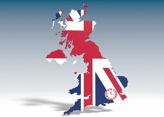 united kingdom 3d map with watch icon in hole