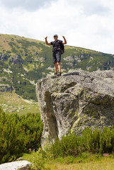 Hiker showing thumbs up