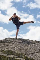 Kickboxer training outdoor