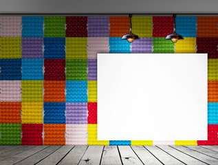Blank frame on Colorful Paper egg tray wall and wood floor