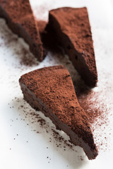 Slices of flourless  Chocolate Cake
