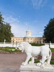 sculpture of a lion and the palace