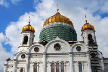 Christ the Savior Church in Moscow. Blue sky with clouds.