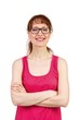 canvas print picture - Woman with glasses and smiling