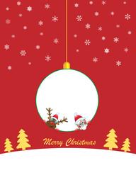 Christmas white internal ball with santa and rudolf