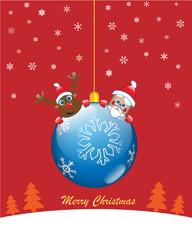 Christmas blue ball with santa and rudolf