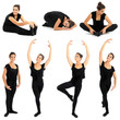 Young woman doing ballet stretching warm-up exercise, isolated