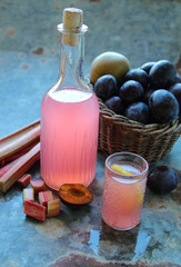 Sweet home made rhubarb juice in a glass bottle