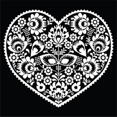 Polish white folk art heart pattern on black - wzory lowickie