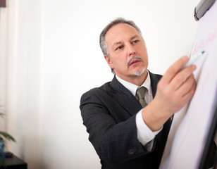 Businessman writing on a white board