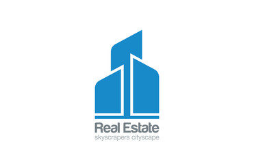 Logo Skyscrapers Real Estate vector design. Construction