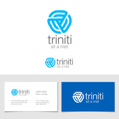 Logo corporate business abstract triple looped infinite