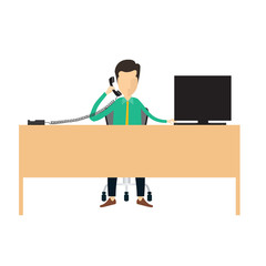 Business man call center information connection vector