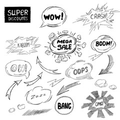 Abstract Set of comic speech bubbles and arrow
