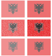 Mosaic Albania flag set