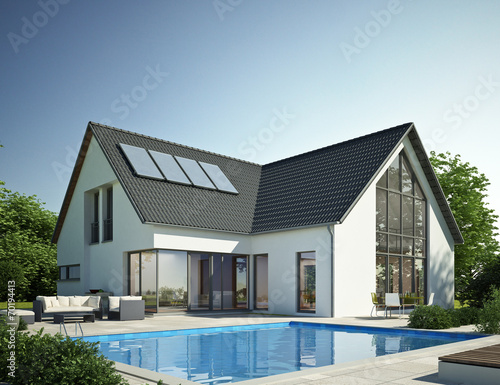 canvas print picture Wohnhaus mit Pool