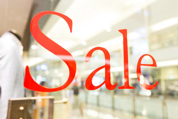 sale sign  on the shop window
