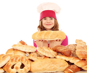 little girl cook with bread