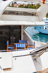 Detail of the poop of a luxury yatch