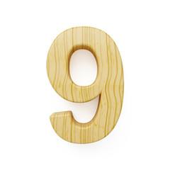 Wood digit nine symbol - 9