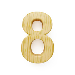 Wood digit eight symbol - 8