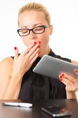 Business woman yawning.